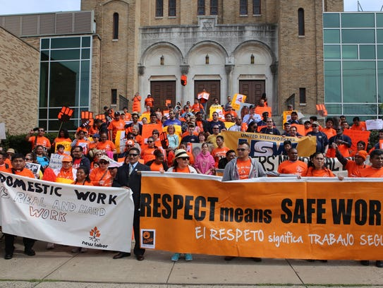 Hundreds of workers from community organizations, unions