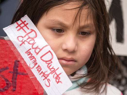 Viviana Torres, 6, Indianapolis, during a march and