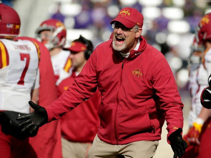 Iowa State head coach Paul Rhoads argues a call during