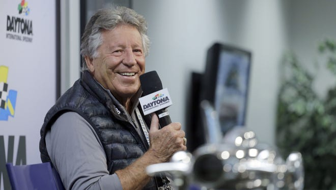 Mario Andretti speaks during a news conference before the NASCAR Daytona 500.