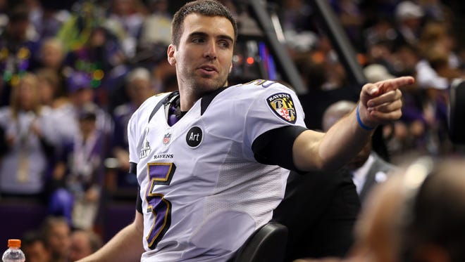 Joe Flacco #5 of the Baltimore Ravens is interviewed after defeating the San Francisco 49ers during Super Bowl XLVII at the Mercedes-Benz Superdome on February 3, 2013 in New Orleans, Louisiana.