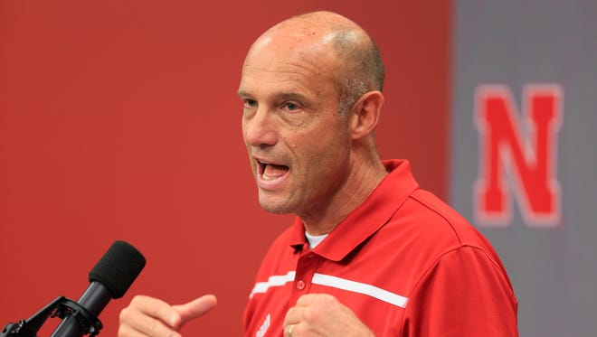 Nebraska NCAA college football head coach Mike Riley speaks during a news conference in Lincoln, Neb., Monday, Aug. 31, 2015. Riley's been in football coaching for 40 years, including three years at the helm of the San Diego Chargers. But he's never worked at a place like Nebraska, where football is a 365-day-a-year passion. By Eric Olson.
