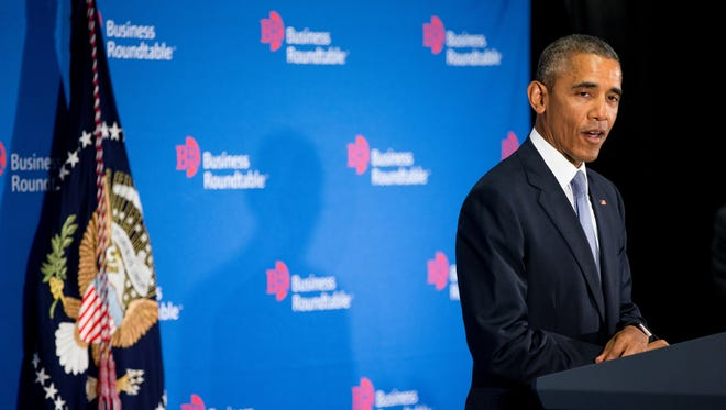 President Obama speaks to business leaders at the quarterly meeting of the Business Roundtable in Washington Wednesday,