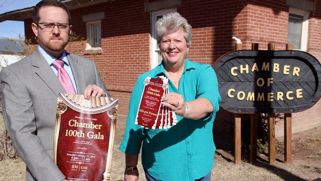 Incoming Deming-Luna County Chamber of Commerce President Tyler Benting and Chamber Executive Director Mary Galbraith has pushing tickets and posters for the 100th annual Chamber Community Awards Gala this Saturday at the Mimbres Valley Special Events Center.