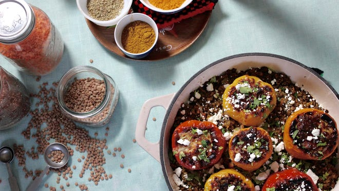 These quinoa and lentil stuffed peppers are easy to make.