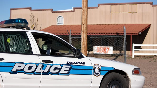 Deming Police units surrounded a building at the 3300 block of Columbus Highway Thursday afternoon.