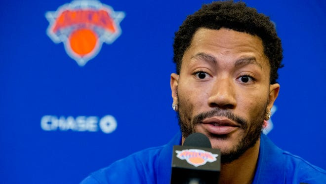 Derrick Rose speaks during a news conference at Madison Square Garden, Friday, June 24, 2016, in New York.