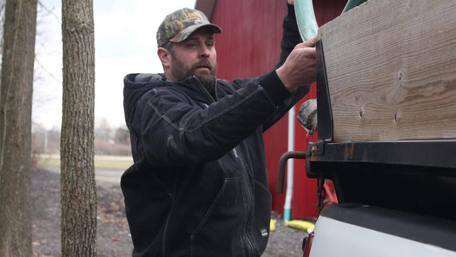 Matt Strine said he thinks he is the largest maple syrup producer in Marion County. He collects sap during February and March, which he boils down into maple syrup. On a good year, he can make 700 gallons of maple syrup.