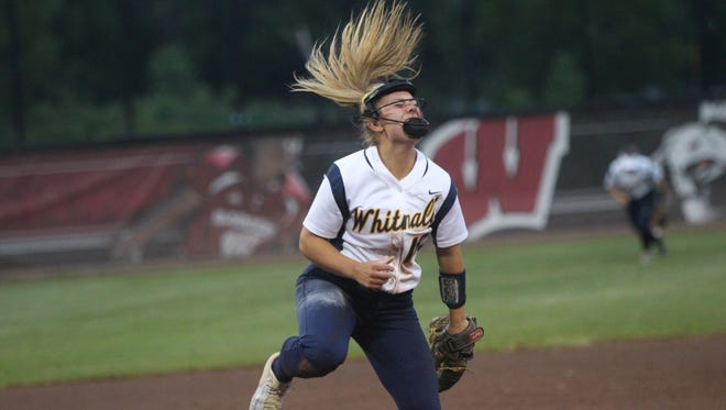 Whitnall pitcher Haley Wynn celebrates a strikeout during a state semifinal against Portage on Friday.