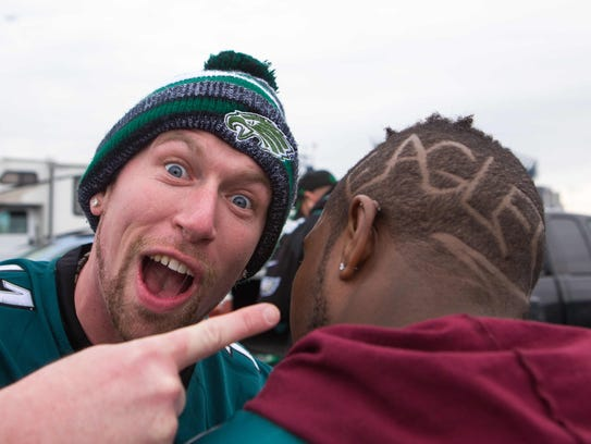 Eagles fans show their Eagles pride during tailgating.