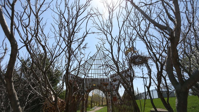 The Aviary: A Migratory Bird Hatchery treehouse by Ryk Weiss at Reiman Gardens in Ames on Tuesday, May 5, 2015. The house is meant to increase the awareness of migratory birds.
