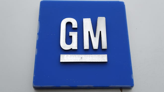 A GM logo is shown at the General Motors Detroit-Hamtramck Assembly plant in Hamtramck, Mich.