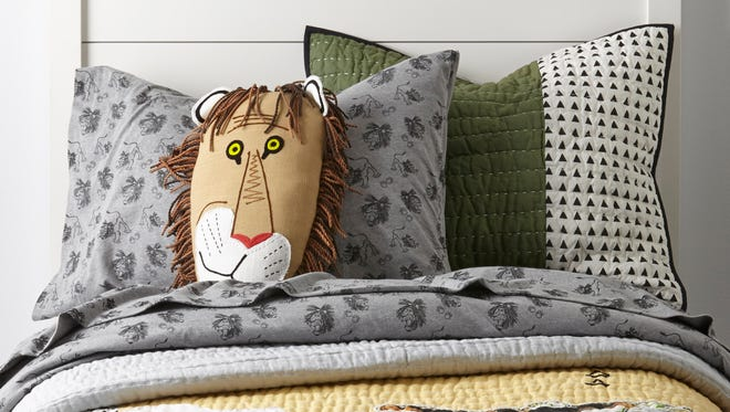 Tawny Scrawny Lion kids bedding. Land of Nod has partnered with Little Golden Books on a reintroduction of several of the publisher's most iconic children's books.  Bedding and soft furnishings feature some of the  children's favorites like Shy Little Kitten and Tawny Scrawny Lion.
