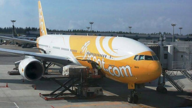 A Scoot Boeing 777 aircraft.