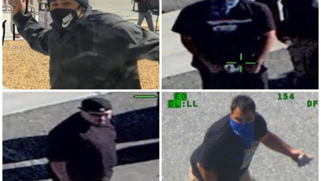 The San Bernardino County Sheriff's Department released these photos of suspects wanted in the investigation of a protest that turned violent at the Adelanto ICE Processing Center last month.