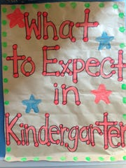A sign greets children attending a free kindergarten kickoff presented by Moorpark/Simi Valley First 5 Neighborhood for Learning on Saturday at the Boys & Girls Club in Simi Valley.