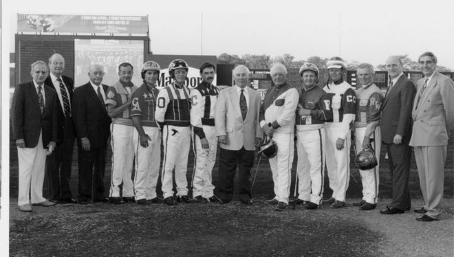 The Meadowlands Racetrack greeting a slew of harness racing's Hall of Fame drivers.