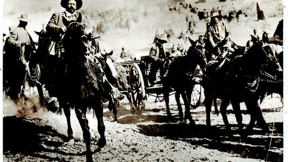 Pancho Villa rides at the head of his rebel army in