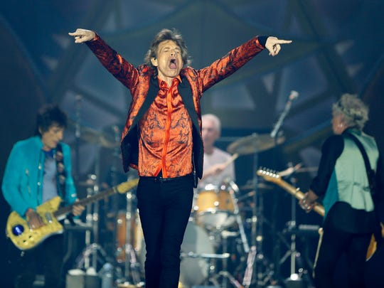 """Rolling Stones' Mick Jagger gets the crowd going during their """"Zip Code"""" tour at Ralph Wilson Stadium."""
