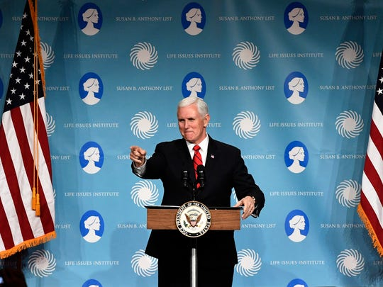 Vice President Mike Pence speaks at the Susan B. Anthony