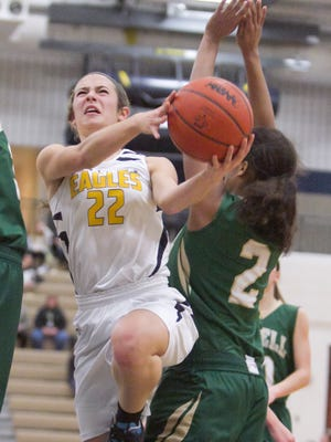 Hartland's Michelle Moraitis, pictured last week, had eight assists in the Eagles' home win against Pinckney on Tuesday.