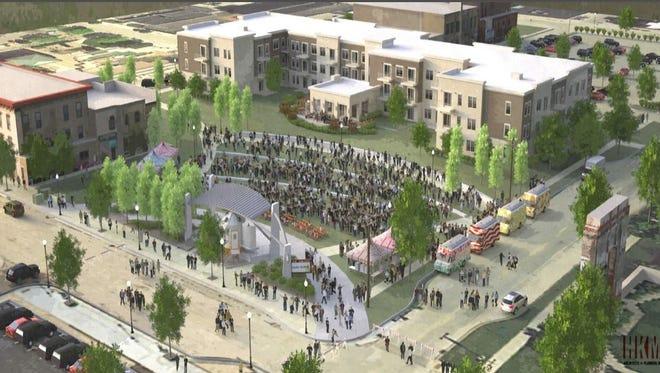"Rendering of Sheboygan ""City Green"", a new outdoor arts, culture, & creative space"