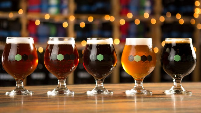 There's plenty of beer diversity at Karben4 including (from left to right): Block Party amber ale, Champagne Tortoise English-mild ale, Lady Luck imperial red ale, Fantasy Factory IPA, and NightCall smoked porter.