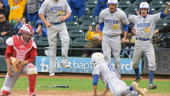 Moody celebrates after Robert Arredondo scores to tie the game against Ray in the sixth inning of the Mira's South Texas Classic championship on March, 04, 2017 at Whataburger Field.