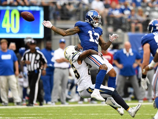 New York Giants wide receiver Odell Beckham #13 cannot