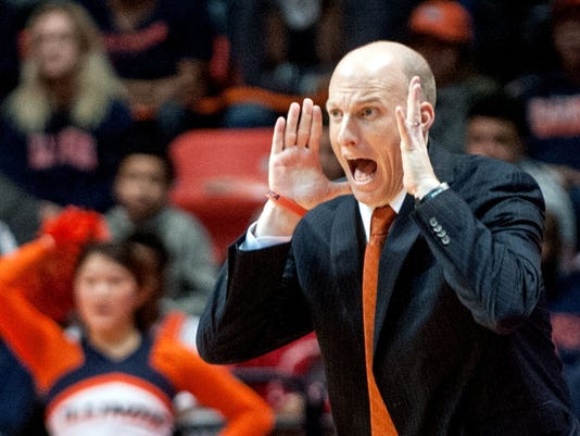 Illinois coach John Groce, calls out from the sidelines during the second half of the team's NCAA college basketball game against Indiana in Champaign, Ill., on Thursday, Feb. 25, 2016. Indiana won 74-47. (AP Photo/Heather Coit)