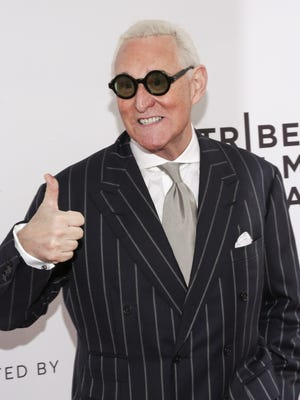 "Political consultant Roger Stone attends a screening of ""Get Me Roger Stone"" at the SVA Theatre during the 2017 Tribeca Film Festival on April 23, 2017 in New York."