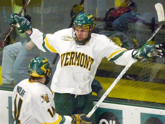 Viktor Stalberg, then with the University of Vermont, celebrates a goal against UMass-Lowell in Burlington on  March 14, 2009.