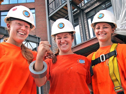 Amy Carpenter (left) Amanda DeVary and Stephanie Barlow, are three young women who help makeup the work force of Indianapolis Fabrications.