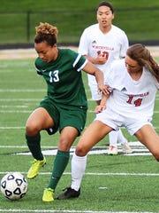 Novi's Chloe Allen (left) battles for possession with Northville's Alissa Moore.