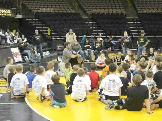 A wrestling clinic took place at Carver-Hawkeye Arena,