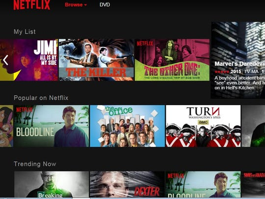 The new in-testing interface for Netflix.com.