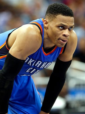 Oklahoma City Thunder guard Russell Westbrook (0) looks on during the second half at Amway Center.