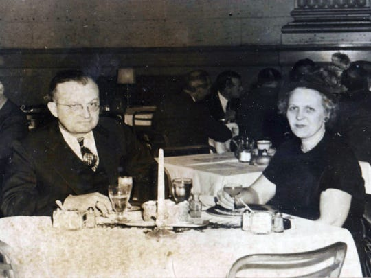 Dr. Andrew C. Renz and his wife, Marjorie Renz, spend their anniversary dinner in the Florentine Room at the Hotel Gibson in 1946.