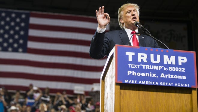 Donald Trump speaks during a rally in Phoenix in June.