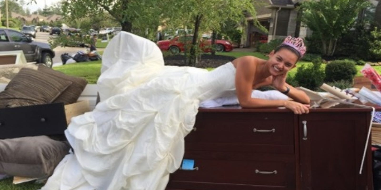daf91ab2d00a Harvey flooding soaked her wedding dress but didn't dampen her spirit