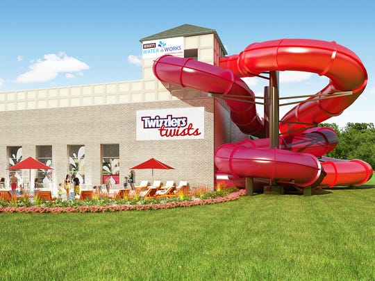 This rendering shows the Twizzlers Twists slides under construction at the Hersher. The two slides are both 24 feet high and 202 feet long.