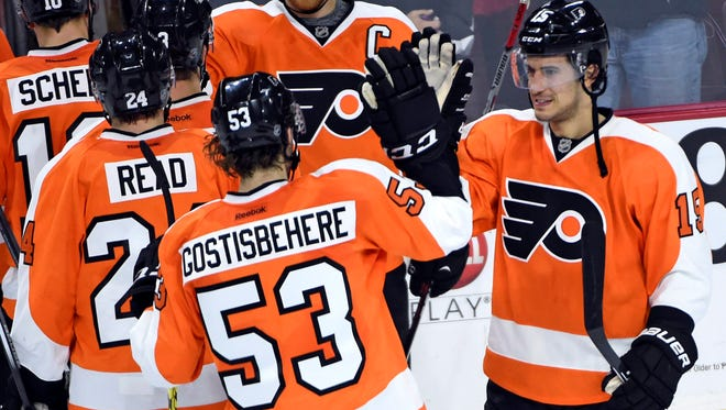 Michael Del Zotto, right, and Shayne Gostisbehere were a defensive pair for the first time all season.