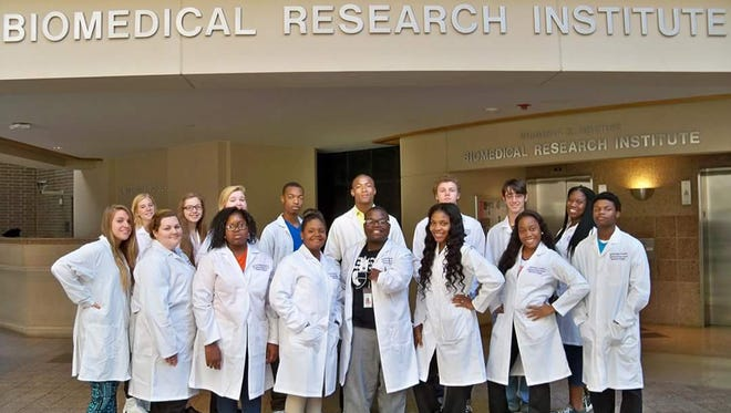 The Biotech senior class of 2016 is pictured at the Biomedical Research Institute.