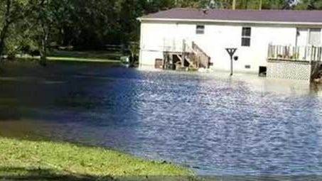 An example of flooding in the Duffyfield community following Hurricane Matthew.