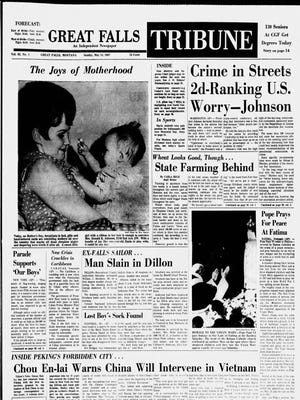 Front page of the Great Falls Tribune from Sunday, May 14, 1967.