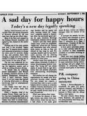A news clipping from Sep. 1, 1985, reports that Indiana has passed a law that bans happy hours.