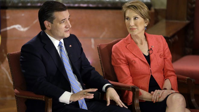 Republican presidential candidate, Sen. Ted Cruz, R-Texas, and vice-presidential candidate Carly Fiorina participate in a question and answer session with Fox News Channel's Sean Hannity at The Indiana War Memorial Friday, in Indianapolis.