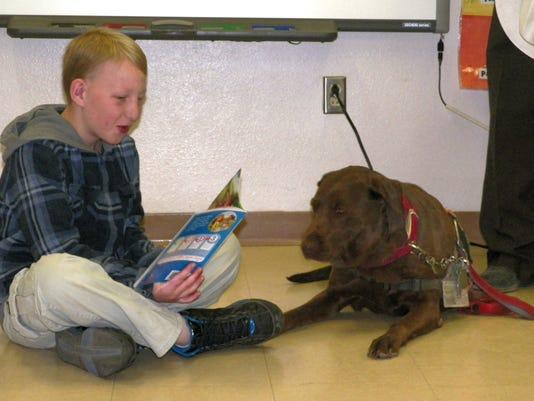 Service dog visits WME