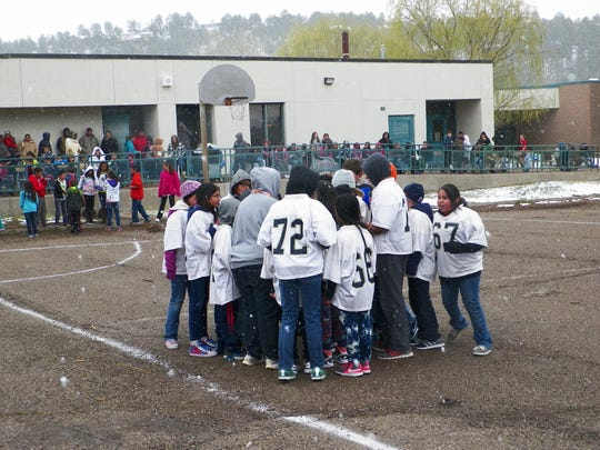 Mrs. Trujillo's and Mr. Contreras fifth grade classes played in the second annual White Mountain Elementary kickball championship Friday.