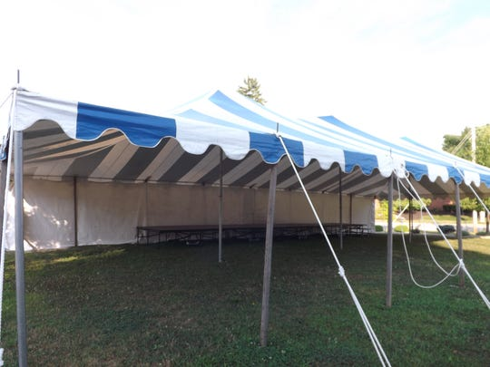 Nettle Creek Players will perform a reunion concert Saturday night under this tent in Hagerstown.